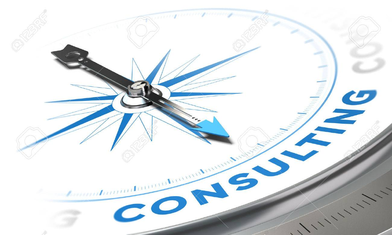 Business consulting concept image compass with needle pointing the word consulting blue tones over