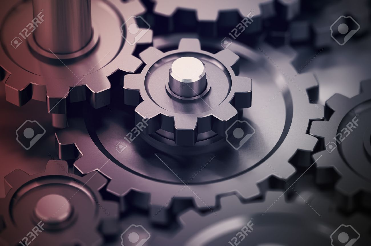 Concept Of Teamwork Gears Working Together Mechanical Symbol