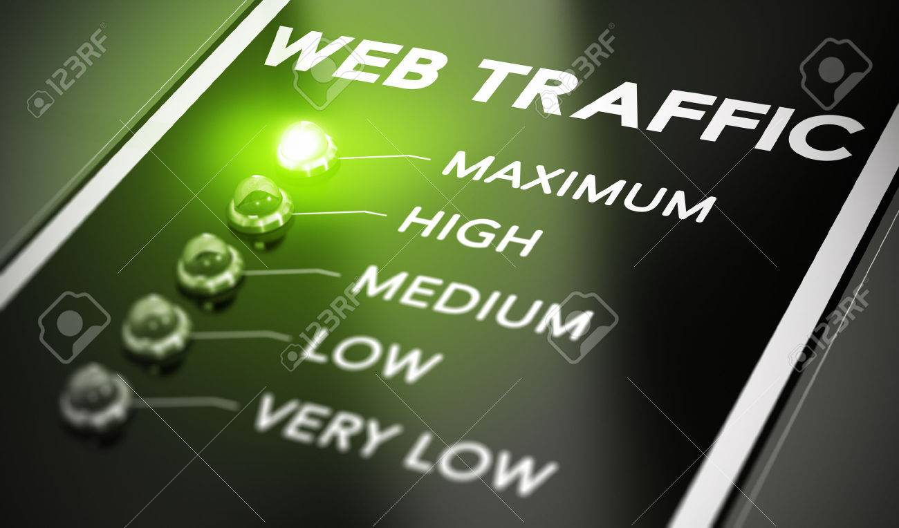 Web traffic concept, Illustration of seo over black background with green light and blur effect. Stock Illustration - 35590458