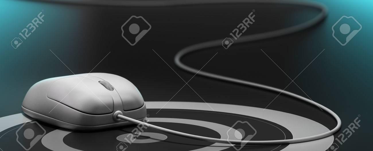 Weiße Maus über Ein Ziel Mit Draht, Schwarzer Hintergrund, Blau ...