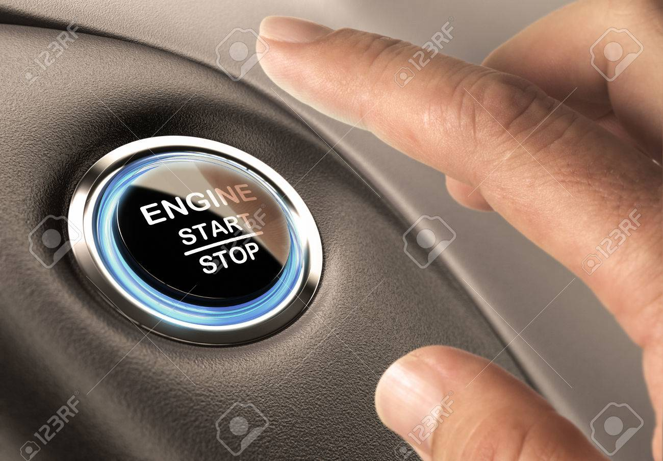Car Engine Start And Stop Button With Blue Light And Black Textured ...