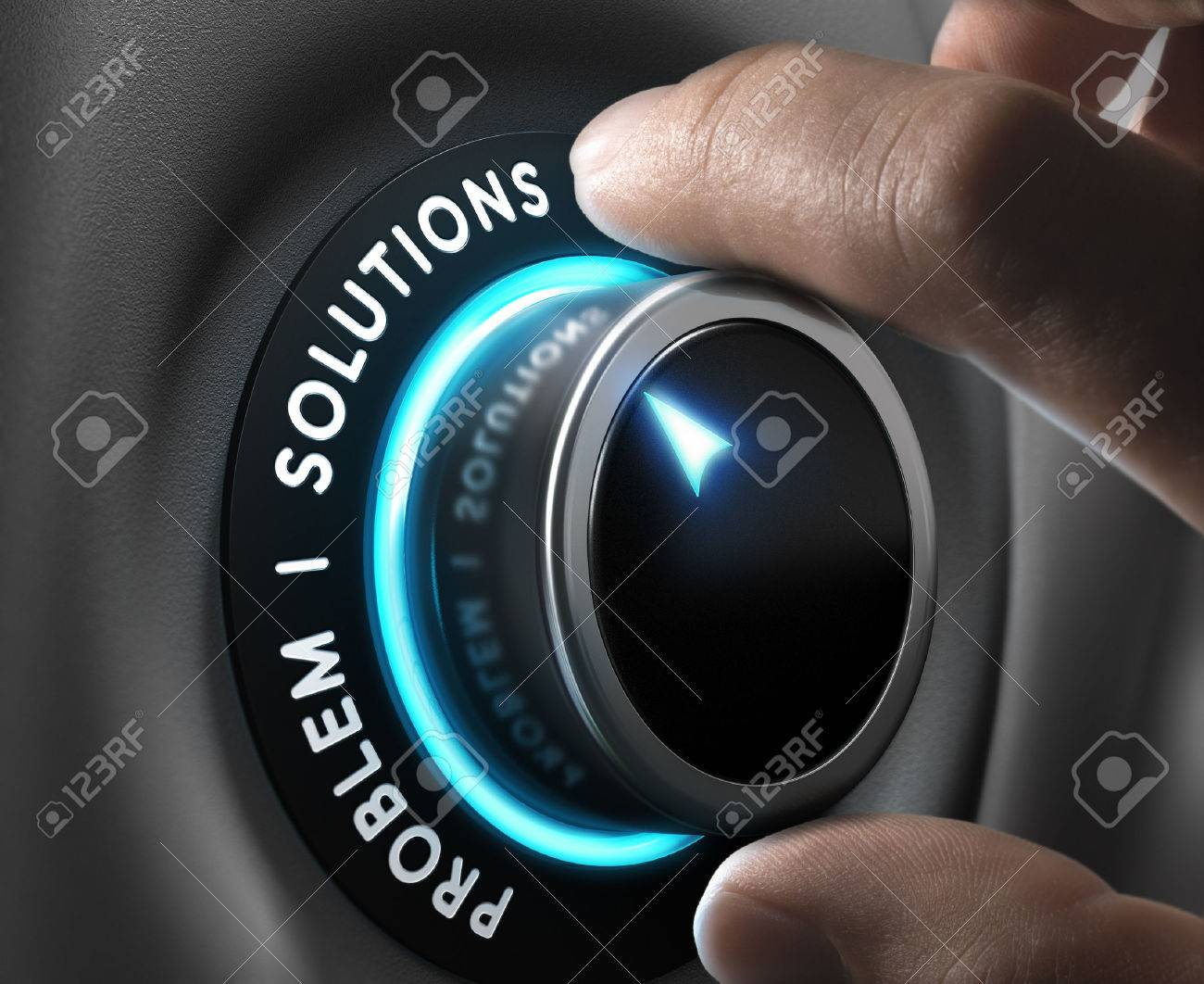 Solution switch positioned on the word solutions over grey background with blue lights. Concept of problem solving. - 41351863
