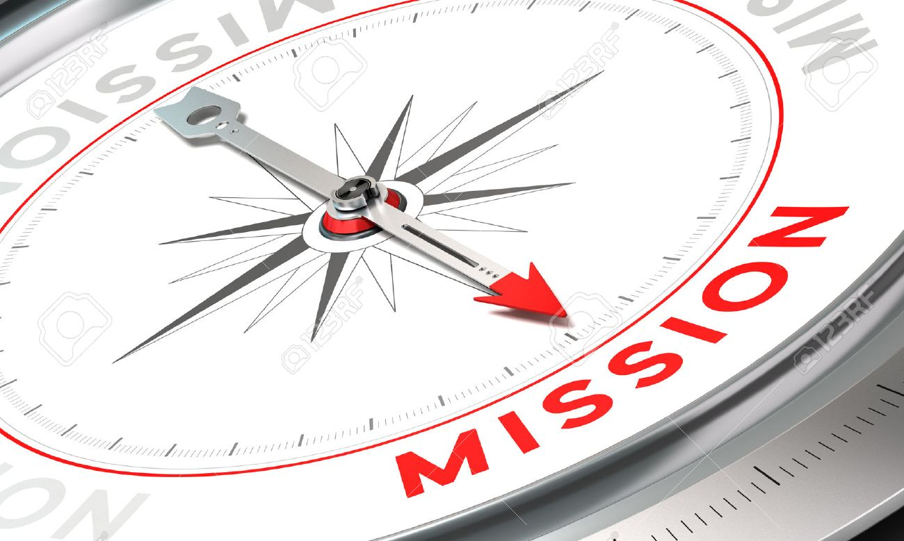 Compass with needle pointing the word mission conceptual illustration part one of a company statement