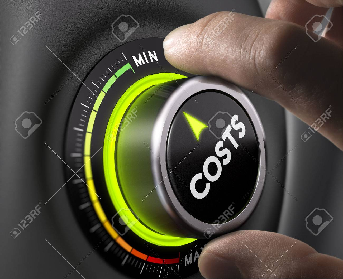 Man fingers setting cost button on minimum position. Concept image for illustration of cost management. - 44348788