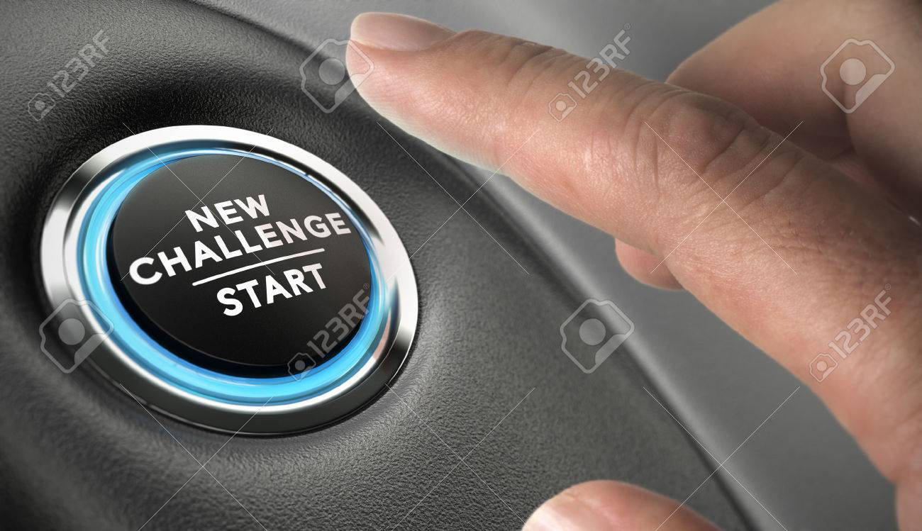 Finger about to press a challenge button. Ambitious man, motivation concept. Stock Photo - 44495939