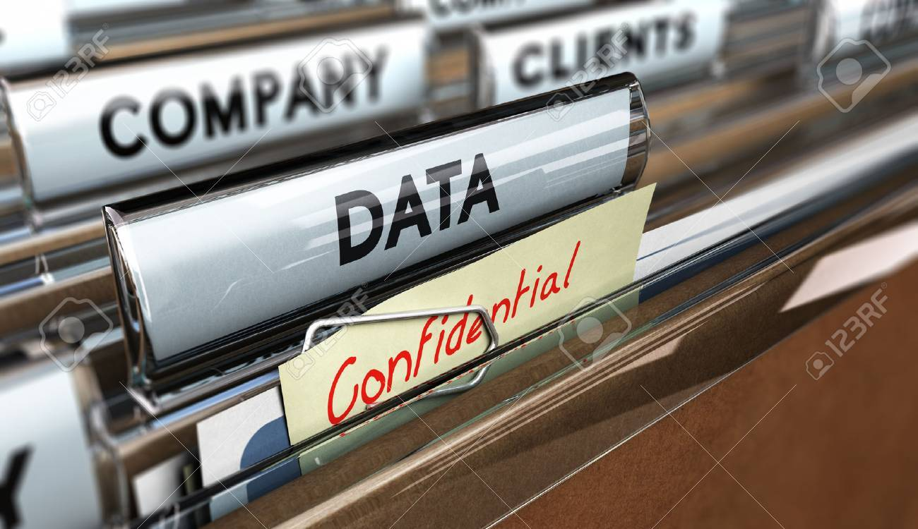 Close up on a file tab with the word data and confidential, focus on the main text and blur effect. Concept image for illustration of company data protection. Stock Illustration - 44496011