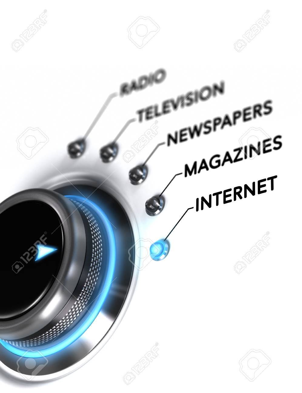 Switch button positioned on the word internet, white background and blue light. Conceptual image for illustration of media planning and digital communication. Stock Illustration - 44636394