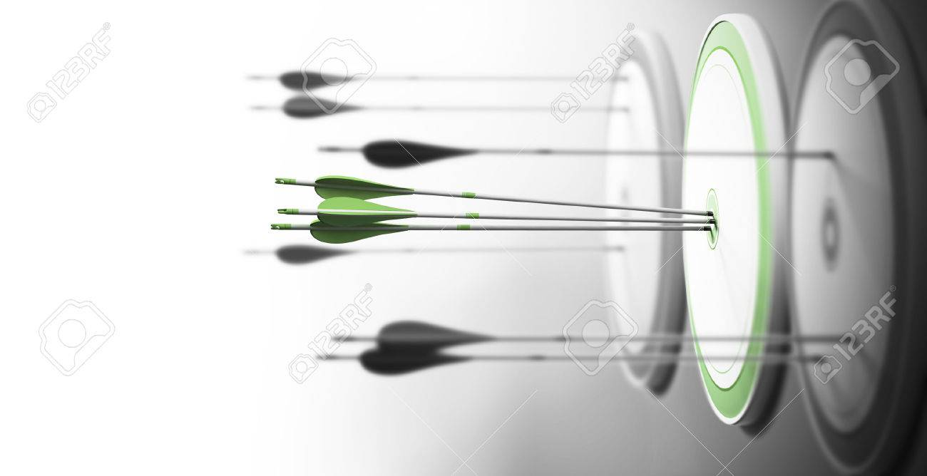 Three targets with focus on the one in the center and arrows hitting the center. Concept of competitive excellence and performance. Stock Photo - 44689360
