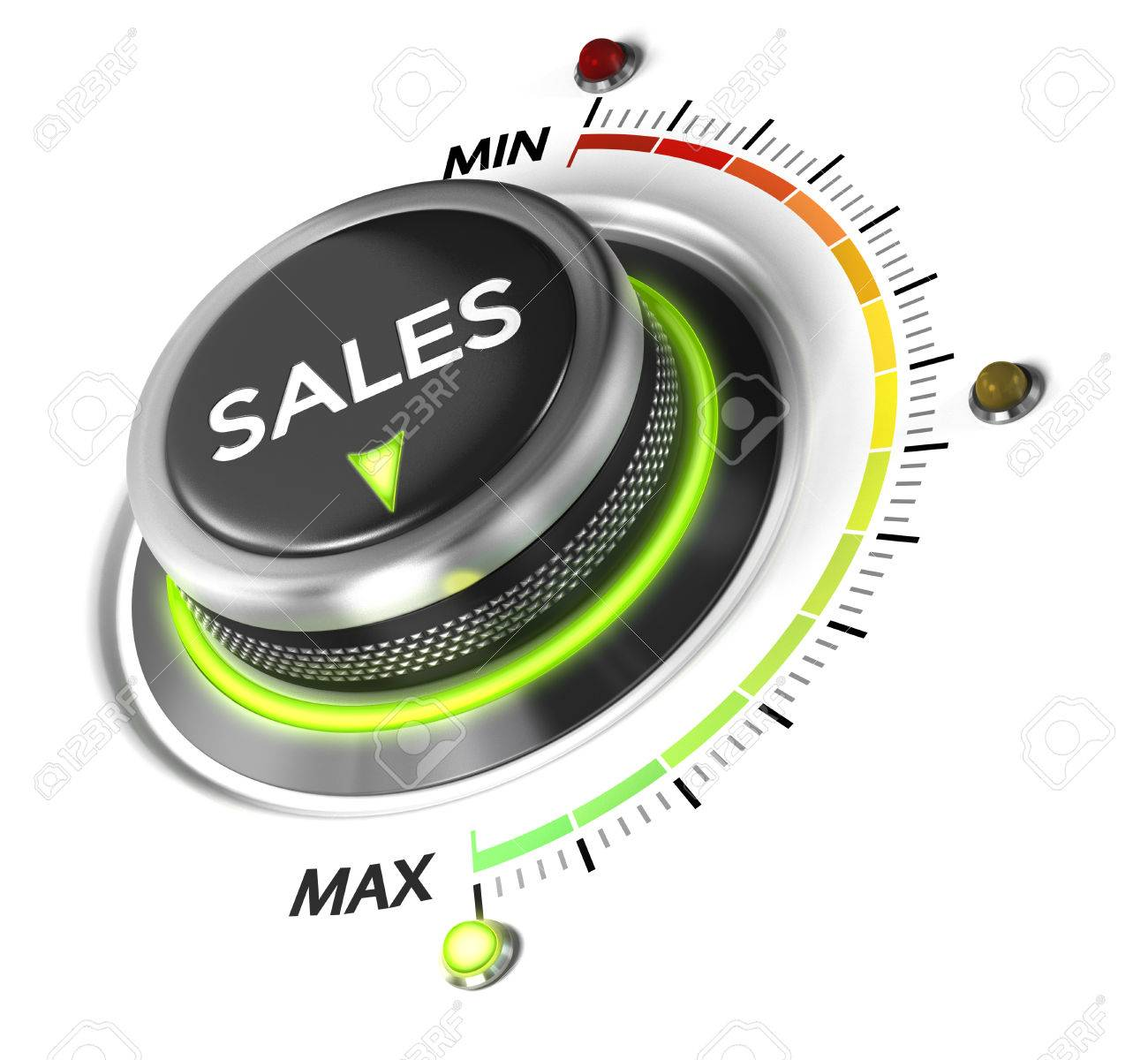 Sales switch button positioned on maximum, white background and blue light. Conceptual image for sales strategy and growth of incomes. Stock Photo - 44689362