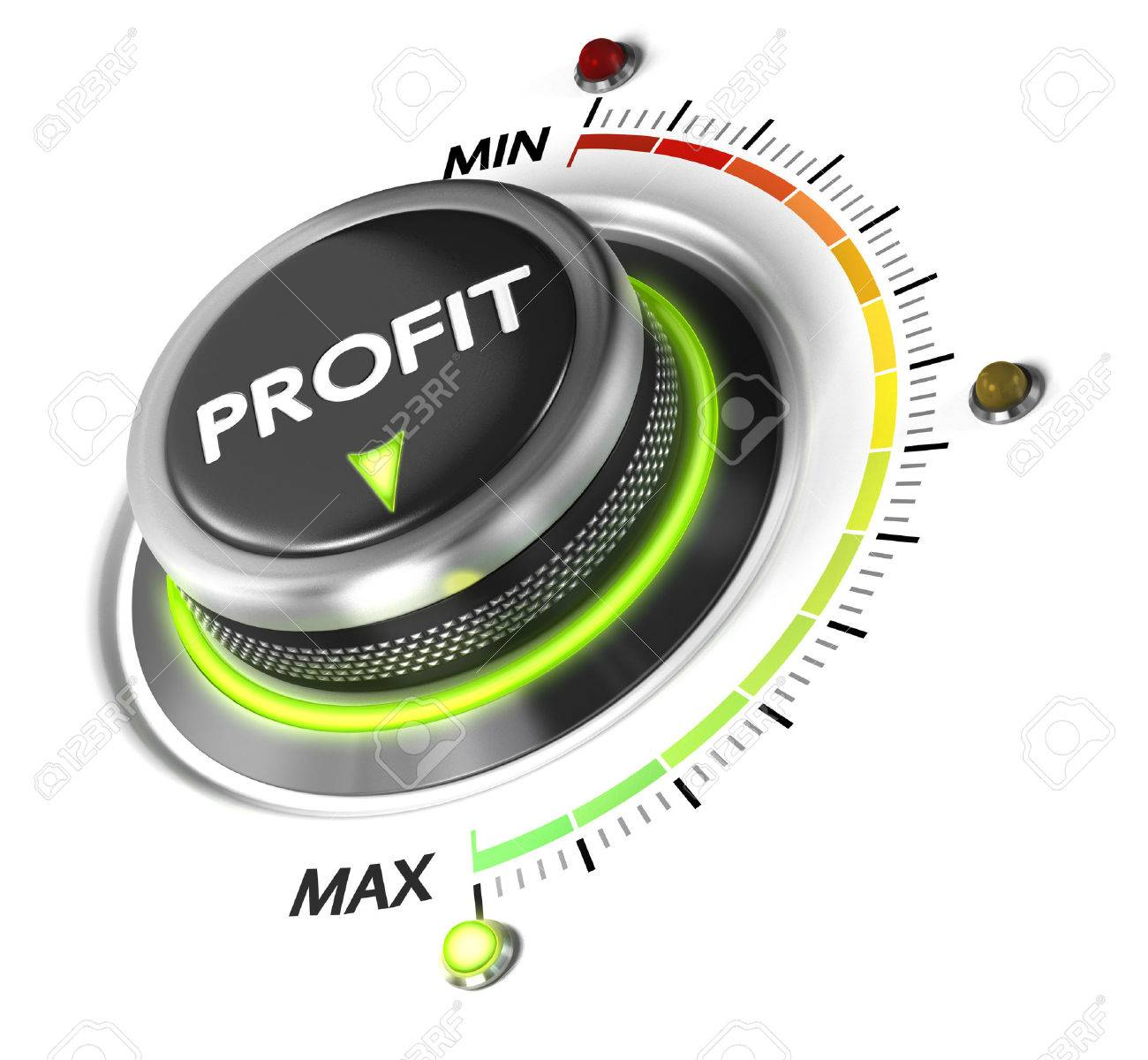 Profit button positioned on maximum, white background and green light. Finance concept illustration of profitability. Stock Illustration - 45250826