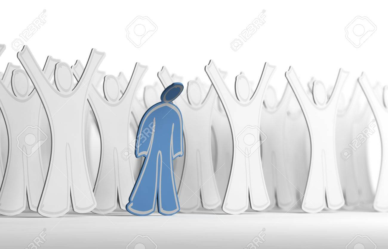 Many White Character With Arms Raised And One Blue Person With
