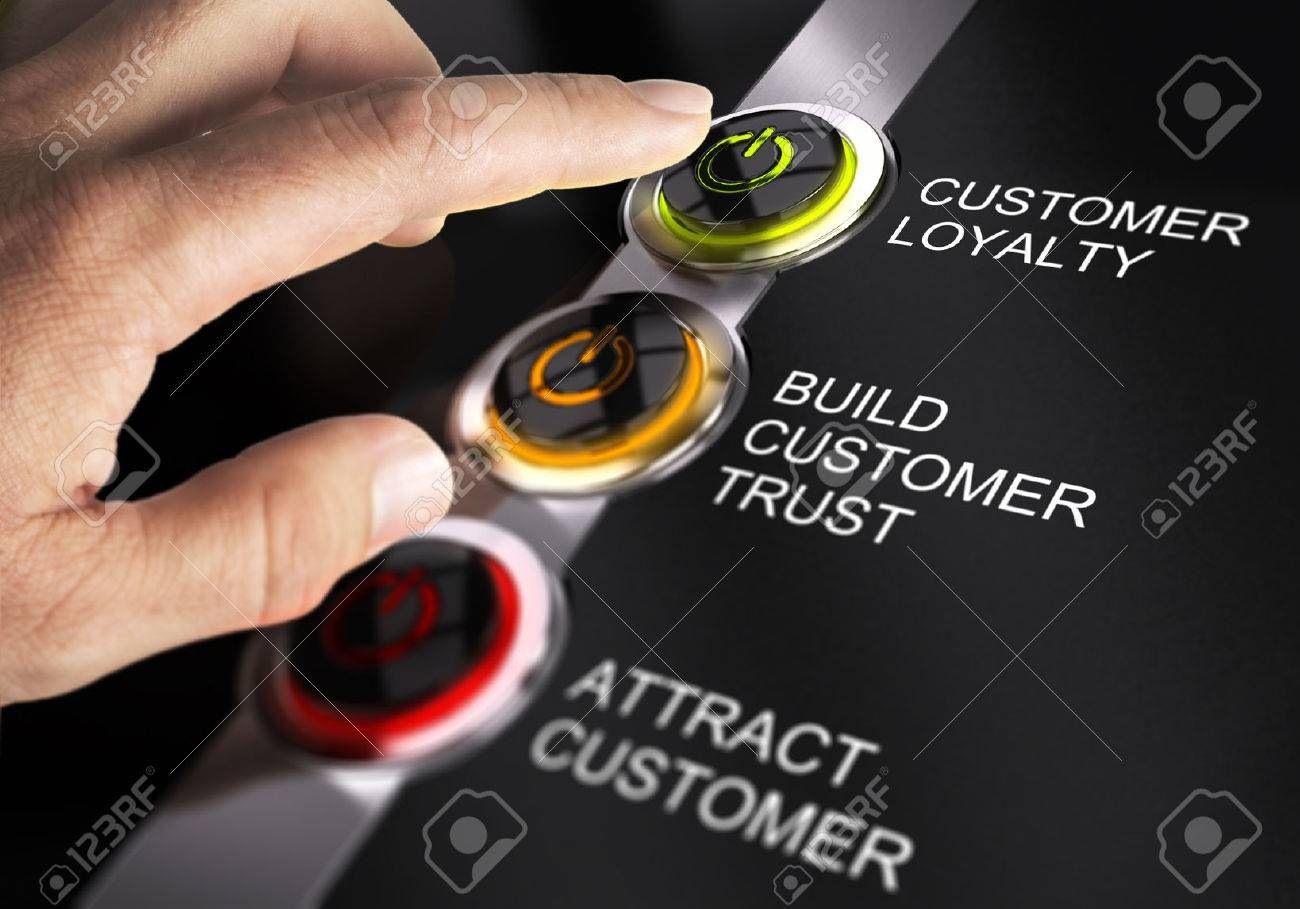 Finger about to press customer loyalty button. Concept for illustration of sales process. Stock Illustration - 45359180