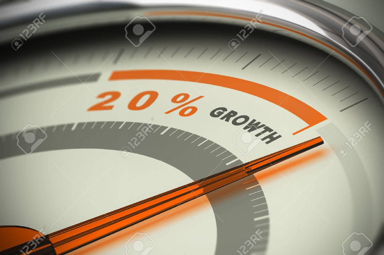 Dial with the needle surpassing the target of twenty percent growth. Conceptual 3D image for illustration of motivation, KPI and exeed sales objectives. Stock Illustration - 45359181