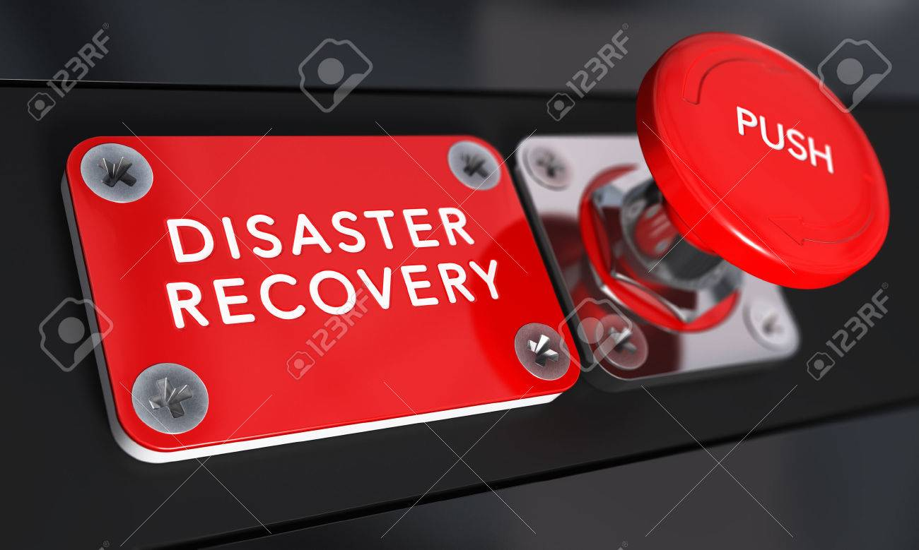 Close up on a red panic button with the text Distaster Recovery with blur effect. Concept image for illustration of DRP, business continuity and crisis communication. Stock Illustration - 45578685