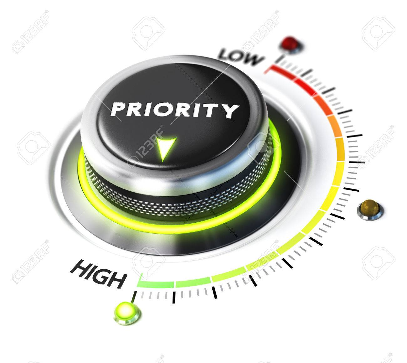 Priority switch button positioned on highest level, white background and green light. Conceptual image for illustration of setting priorities and time management. Stock Illustration - 45578689