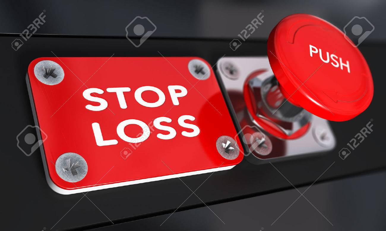 Stop loss panic button with over black background, finance concept Stock Photo - 45916776