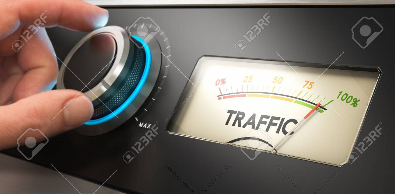 Hand turning a knob up to the maximum, Concept image for illustration of audience analysis and website traffic improvement. Stock Illustration - 46949130