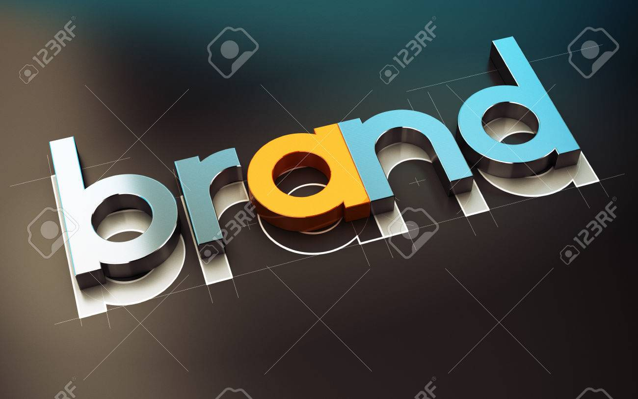 Brand name design over black background, 3D concept illustration of company identity. Stock Illustration - 47395066