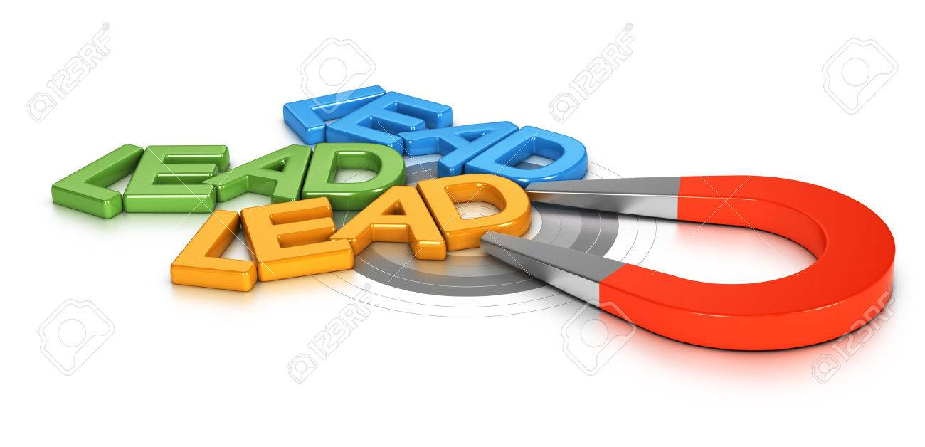 Horseshoe magnet attracting new leads in a target, 3d conceptual image for illustraton of lead generation - 47336969