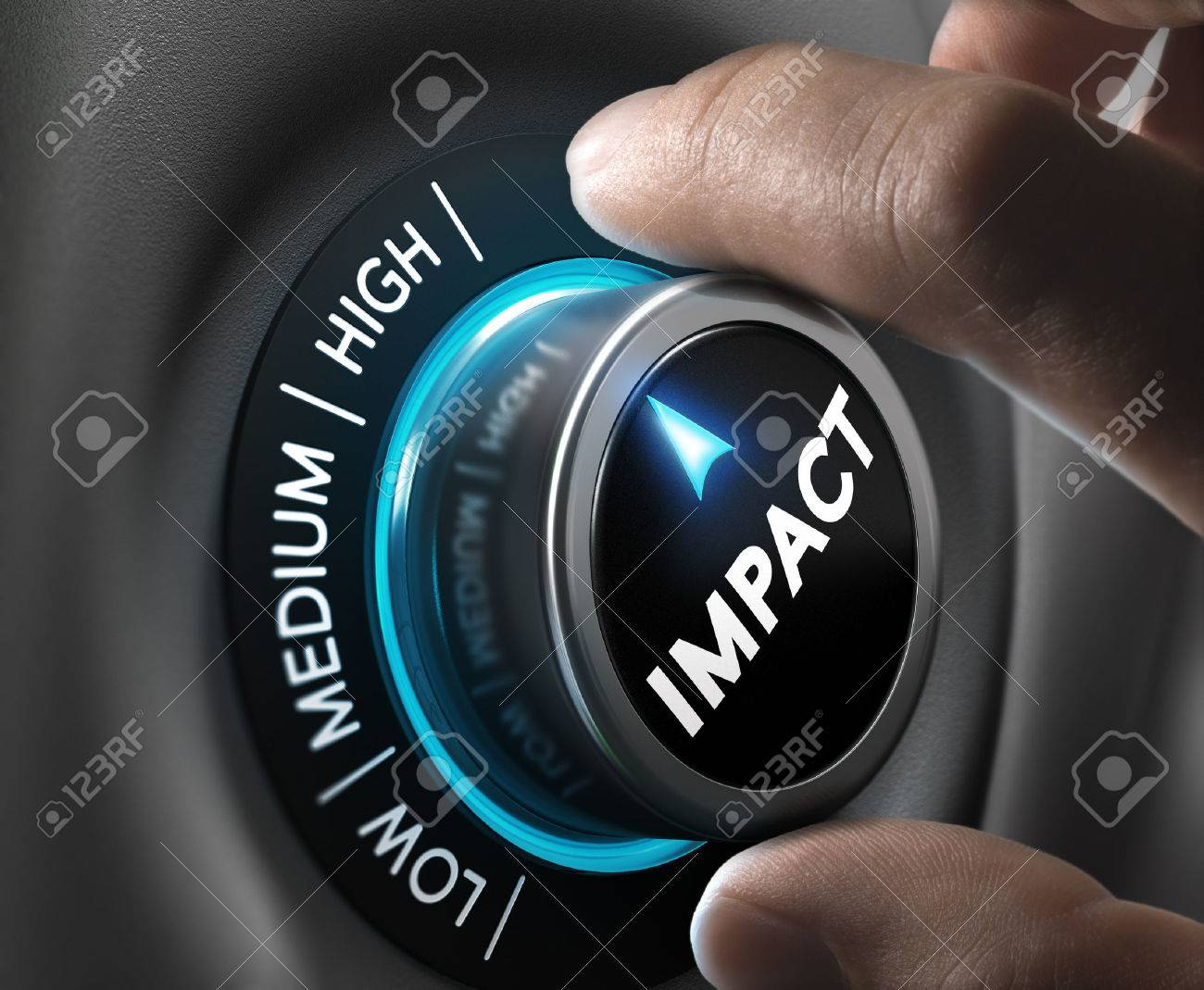 Man hand turning a knob in the highest position, Concept image for illustration of high impact communication and advertising campaign. - 47398903