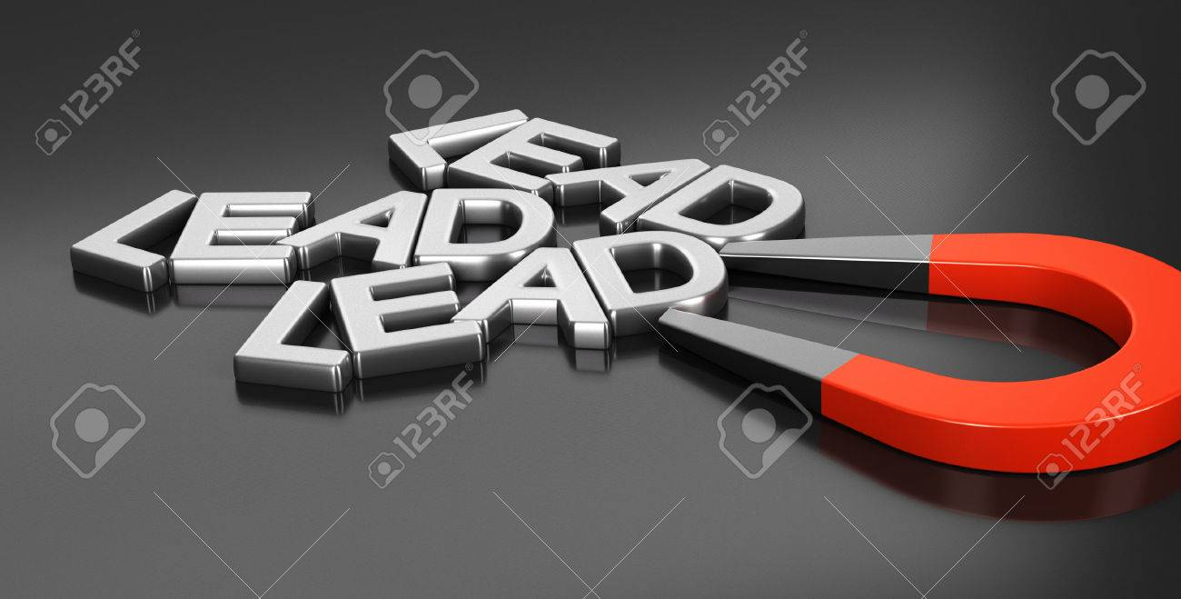 Horseshoe magnet attracting new leads over black background, 3d conceptual image for illustration of lead acquisition strategy and online strategic marketing Stock Illustration - 47455845