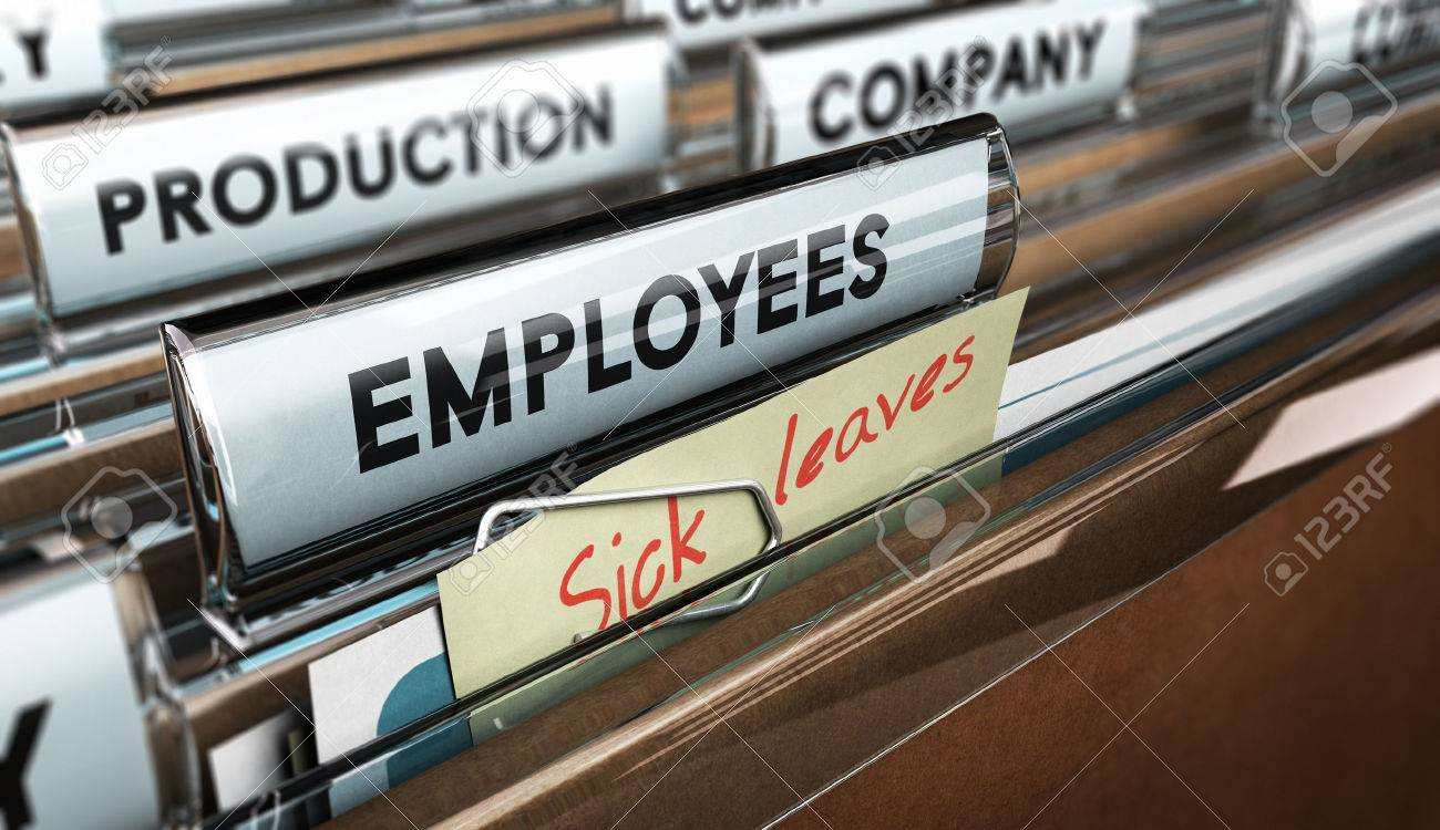 Close up on a file tab with the word employees plus a note with the text sick leaves, blur effect at the background. Concept image for illustration of sick leave entilement. Stock Illustration - 48137933