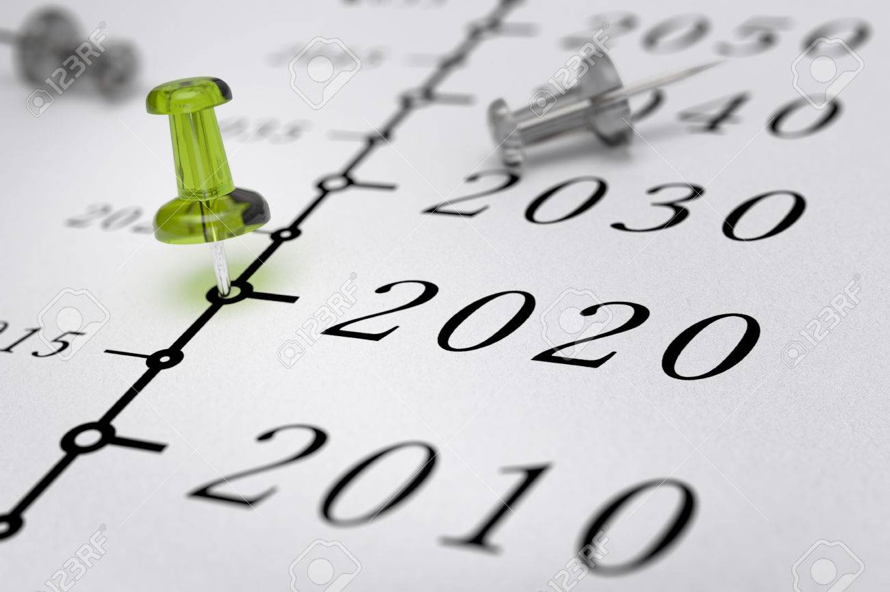 21st Century timeline over white paper background with green pushpin pointing the year 2020, blur effect, conceptual image. Stock Photo - 48467230