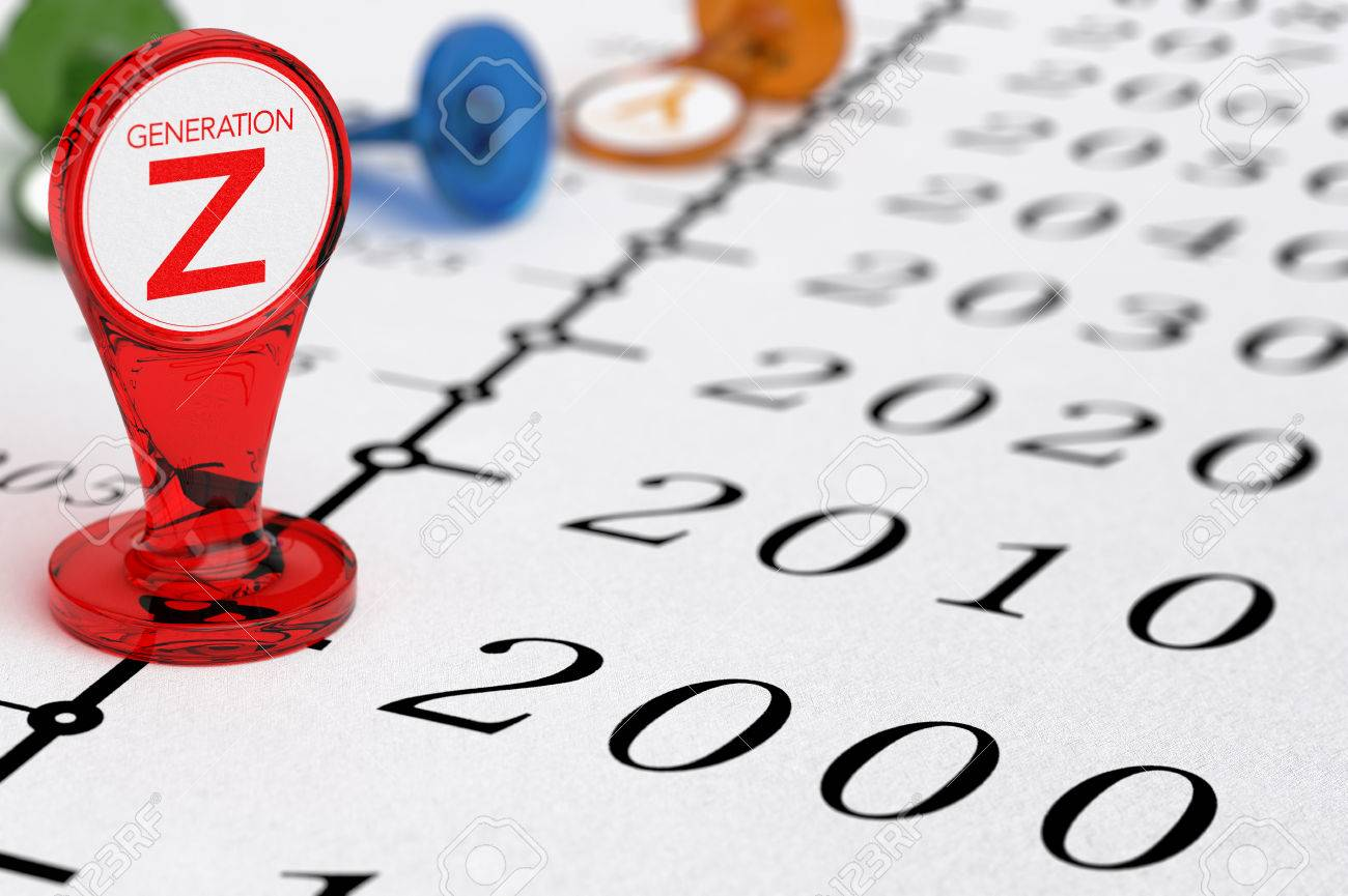 Timeline with red sign where it is written the text generation Z, illustration of millenial generations born after the year 2000. Stock Illustration - 48467257