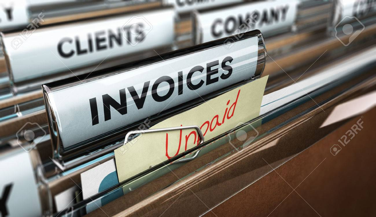 Close up on a file tab with the word invoice and a note where it is handwritten unpaid with blur effect. Concept image for illustration of unpaid invoices recovery. Stock Illustration - 48467259