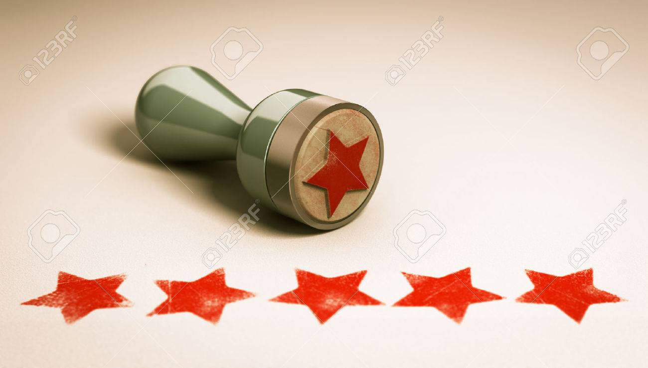 Rubber stamp over paper background with five stars printed on it. concept image for illustration of high customer experience and quality level Stock Illustration - 48582916