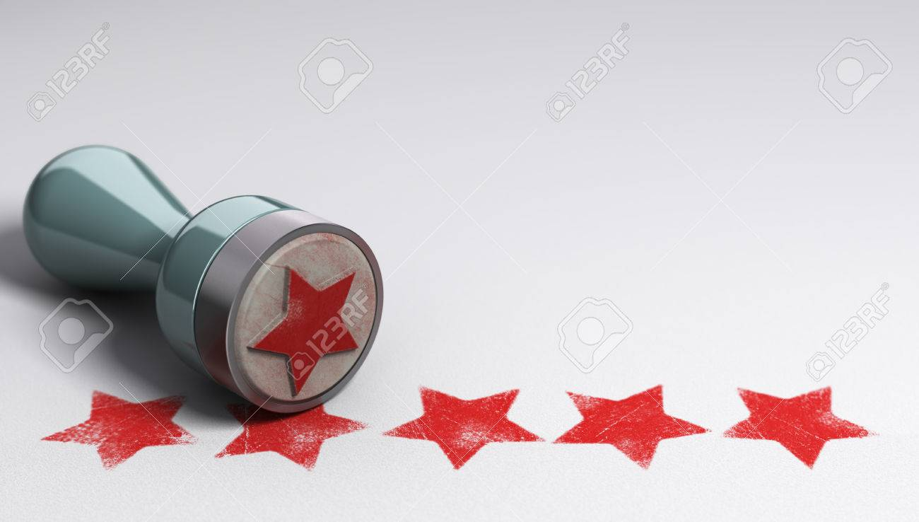 Rubber stamp over paper background with five stars printed on it. concept image for illustration of high customer experience and quality level Stock Illustration - 48582918