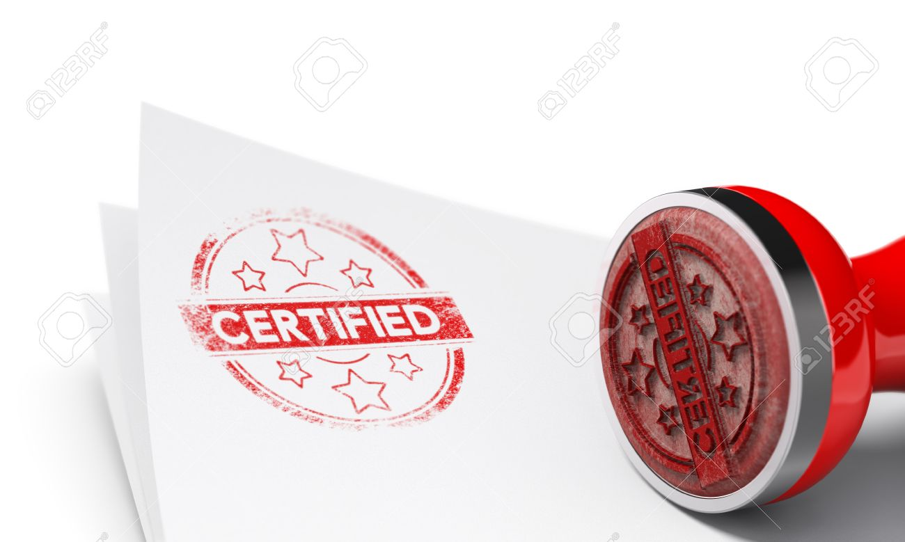 Rubber stamp over paper sheet with the word certified imprinted on it. Concept image for illustration of certificate of authenticity. White background and blur effect. Stock Illustration - 49135760