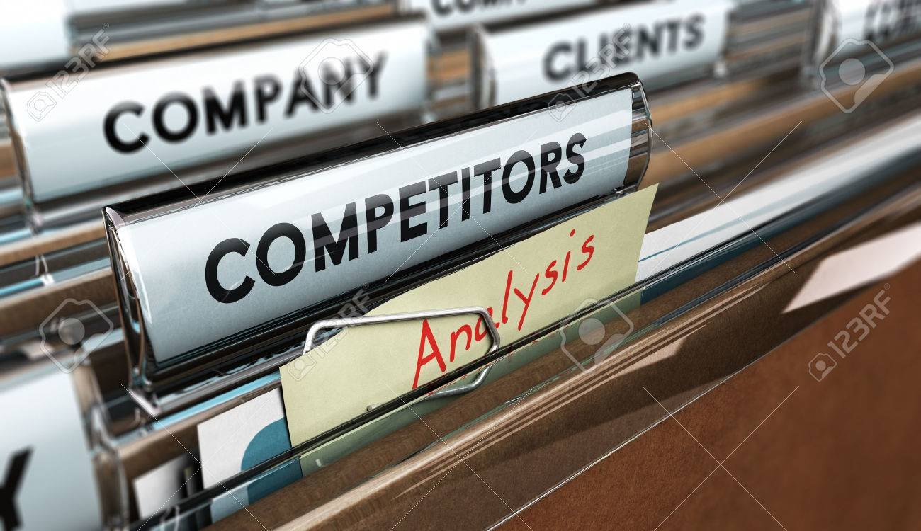 Close up on a file tab with the word competitors, focus on a yellow, note where it is hanwritten analysis, blur effect. Concept image for illustration of strategic management or business intelligence. Stock Illustration - 49179263