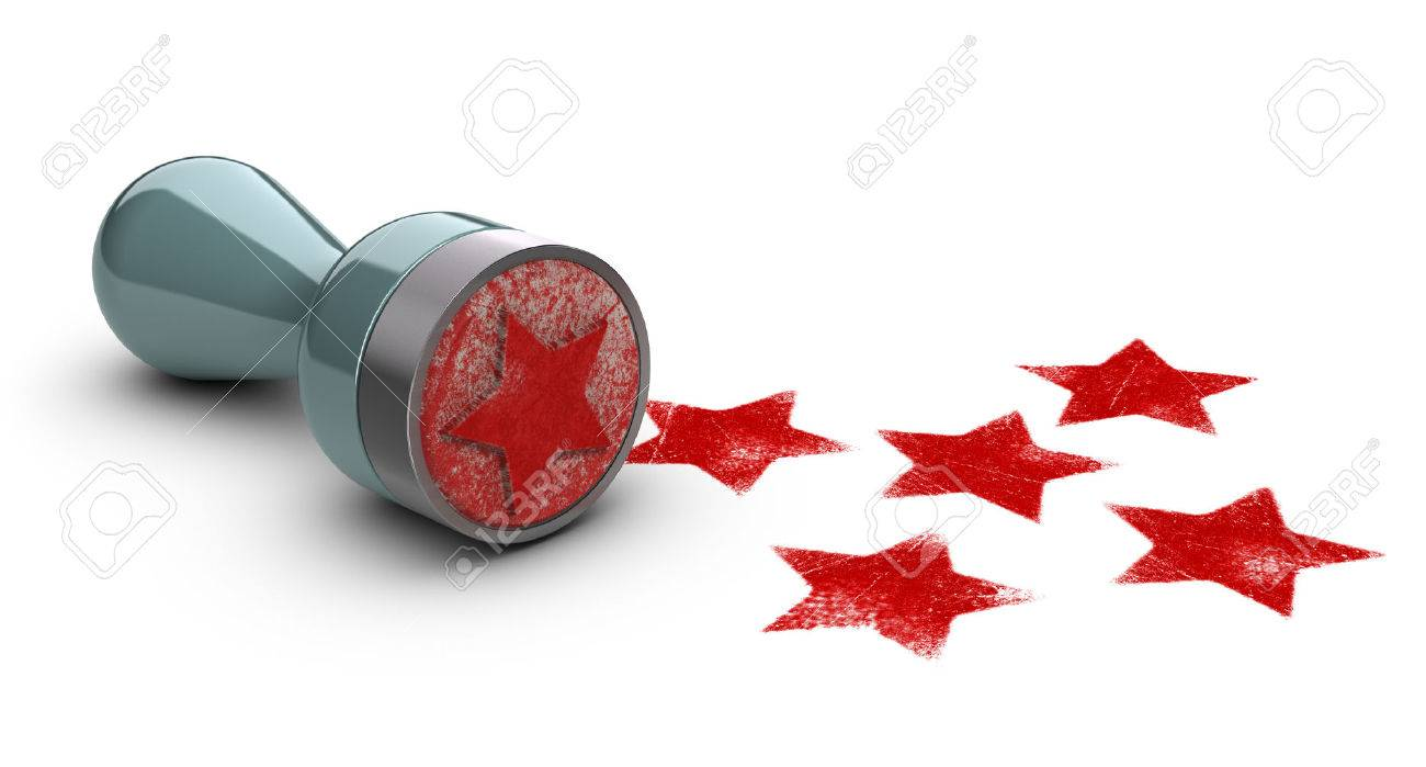 Rubber stamp over white background with five stars printed on it. concept image for illustration of high customer experience and quality level. Stock Illustration - 49210314