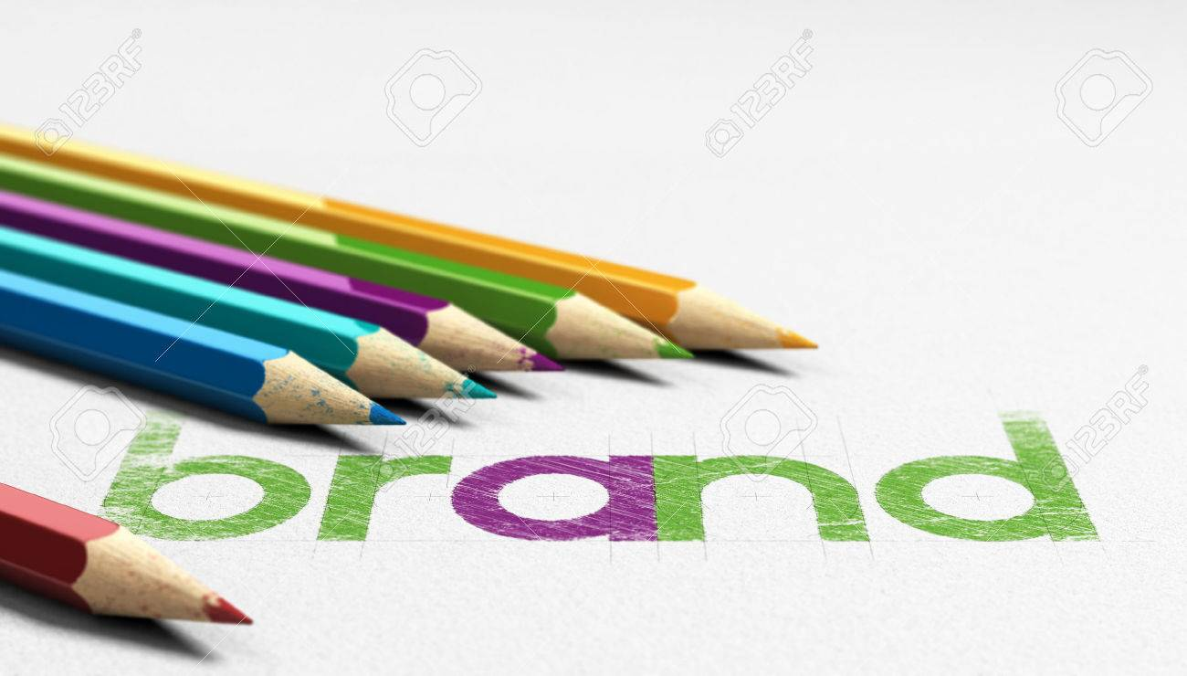 Brand word handwritten on a paper texture with six wooden pencils sourounding it. Concept image for branding and identity design. Stock Photo - 49210316