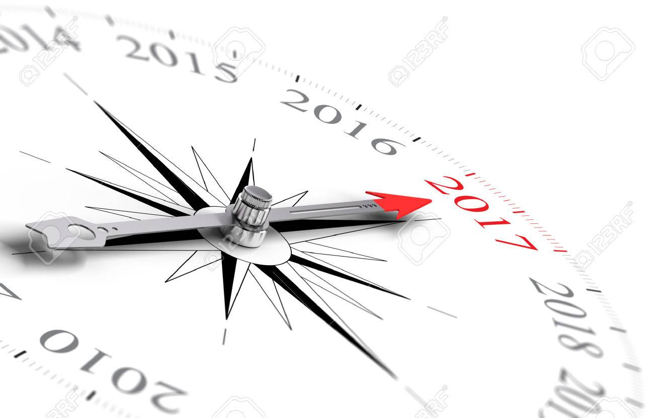 Conceptual compass with needle pointing the year 2017, black and red tones over white background. Concept image for illustration of future and ancipation of two thousand seventeen. Stock Illustration - 51001176