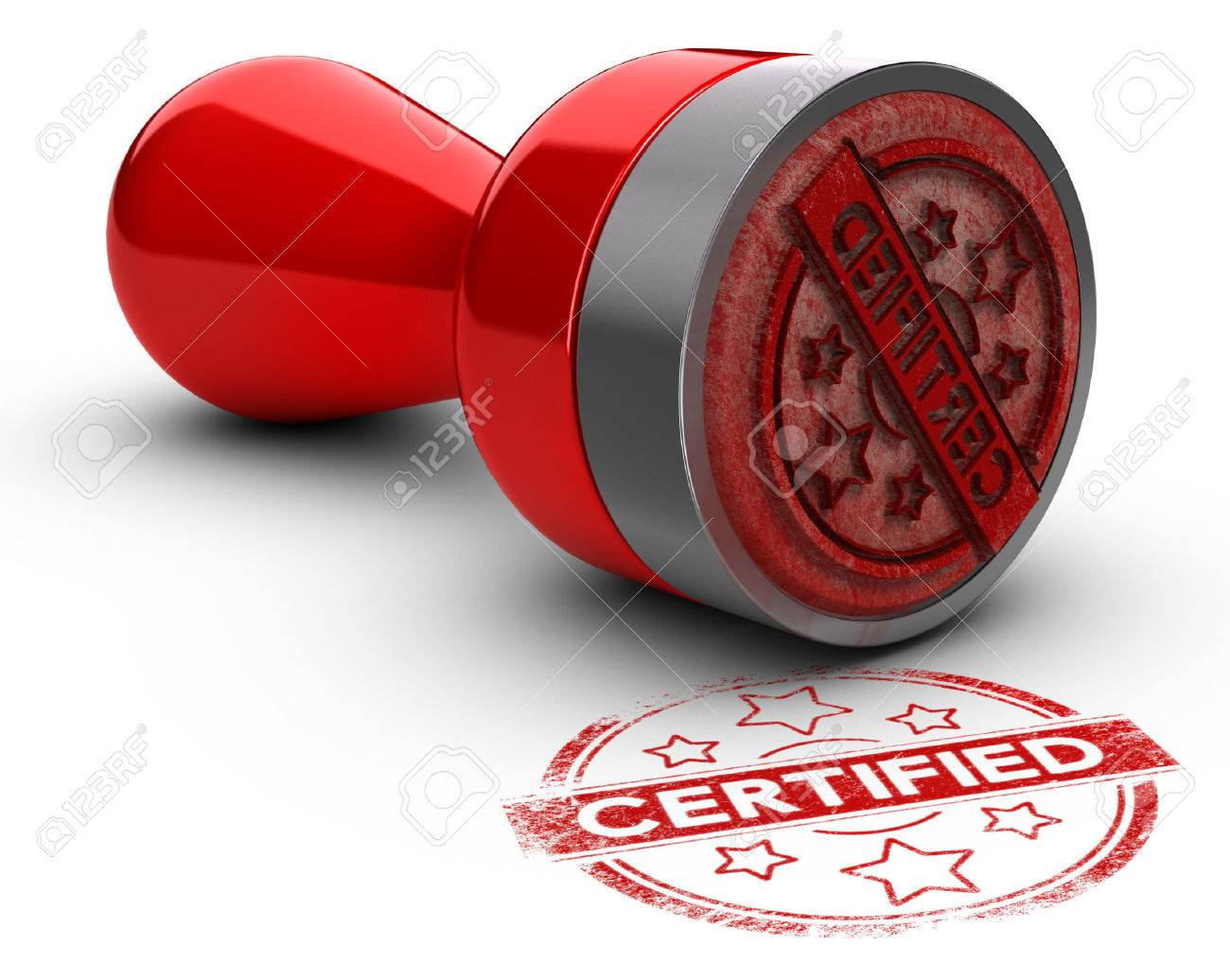 Rubber stamp over white background with the text certified printed on it. concept image for illustration of certification or guarantee certificate. - 51001419