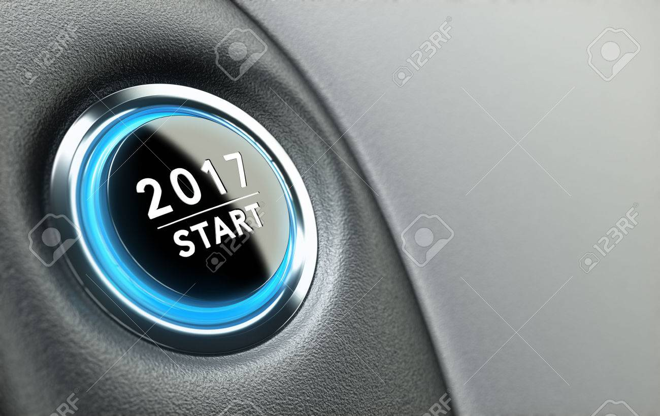 2017 push button. Concept of new year, two thousand seventeen. Stock Photo - 51001441