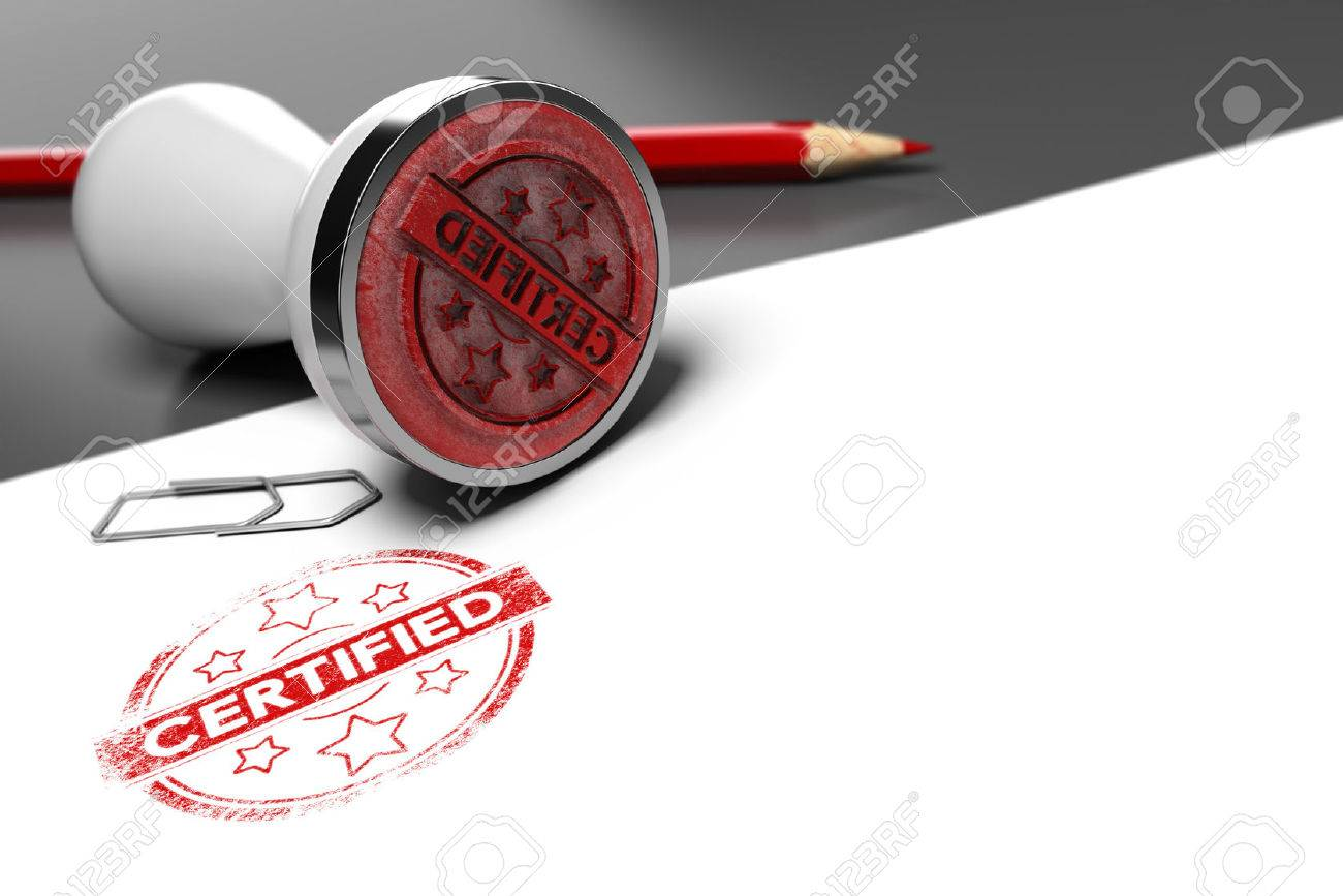 Rubber stamp over grey and white background with the text certified printed on it. Concept image for illustration of certification or guarantee certificate. Stock Illustration - 51086244