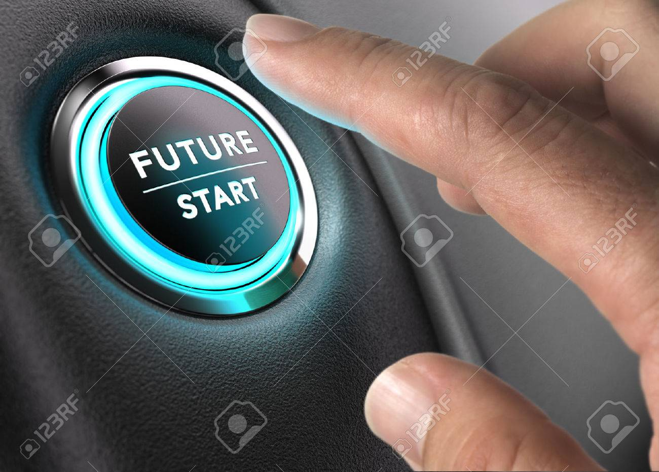 Finger about to press future button with blue light over black and grey background. Concept image for illustration of change or strategic vision. Stock Illustration - 51242997