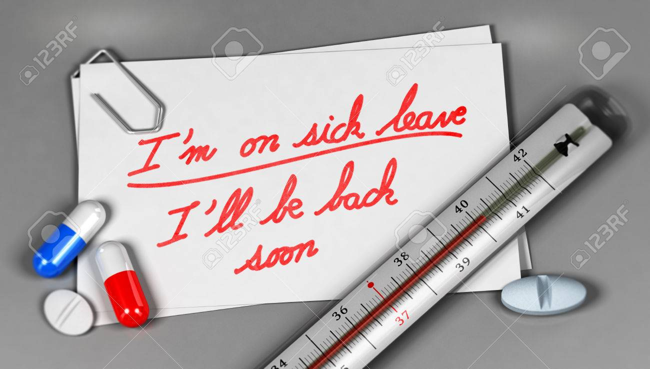 Business Card With Sick Leave Message Handwritten On It With.. Stock ...
