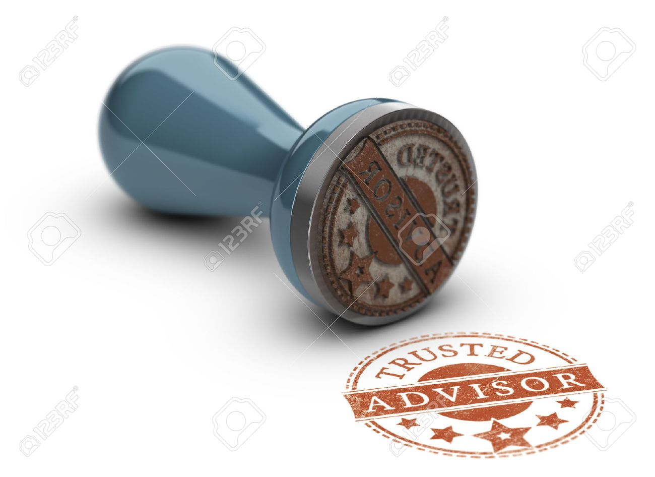 Trusted avisor rubber stamp over white background. Concept of trust in business. Stock Photo - 52381227