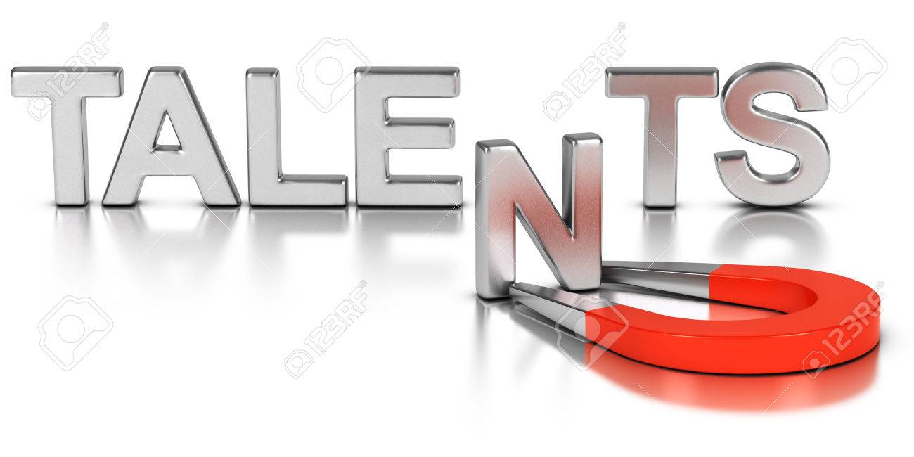 Talent acquisition illustration concept, letter N attracted and retained by a magnet over white background Stock Illustration - 53292900