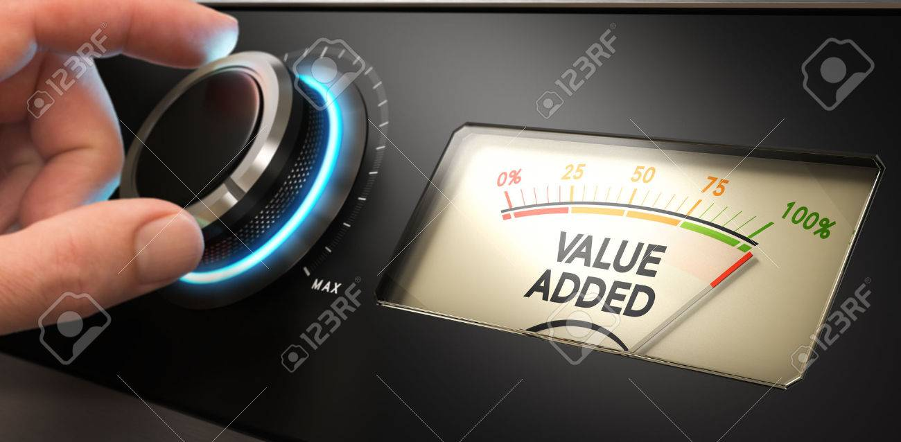 Hand turning a knob up to the maximum with a dial where it is written the text value added. Concept image for illustration of competitive advantage. Stock Illustration - 53880431