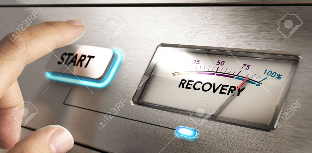 Finger about to press a start button with a dial where it is written the word recovery. Concept image for illustration of crisis or disaster recovery plan. Stock Illustration - 54173203