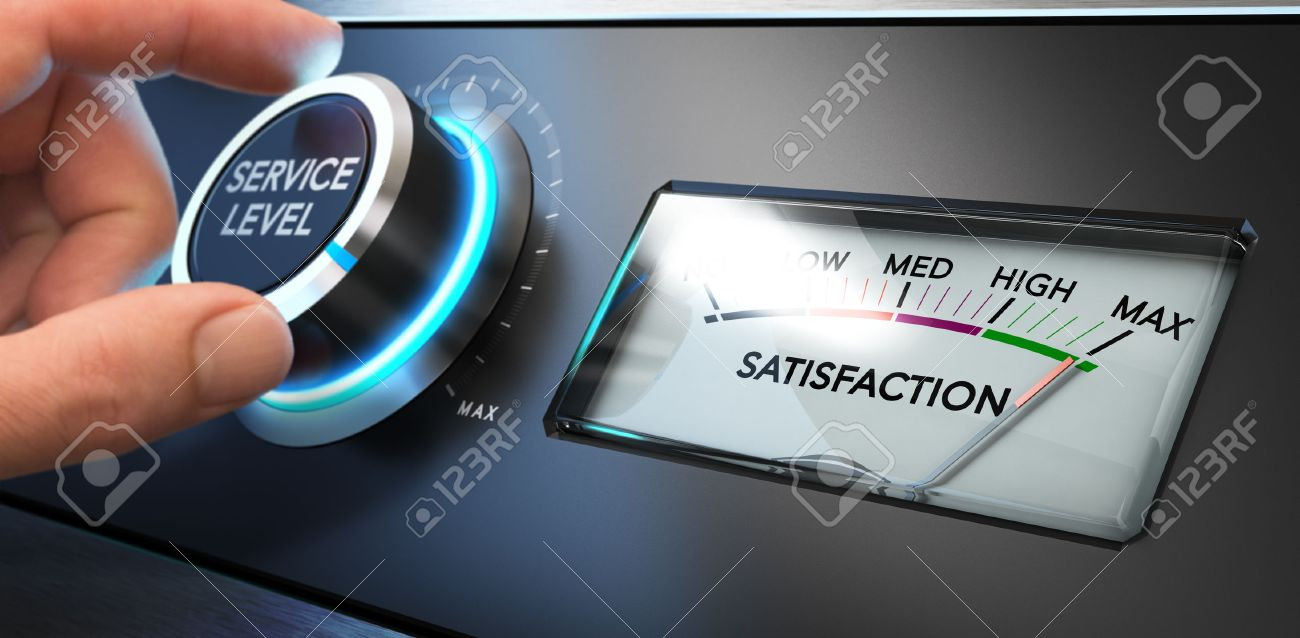 Hand turning a service level knob up to the maximum with a dial where it is written the word satisfaction. Concept image for illustration of Key Performance Indicator, KPI or customer loyalty. Stock Illustration - 54181602