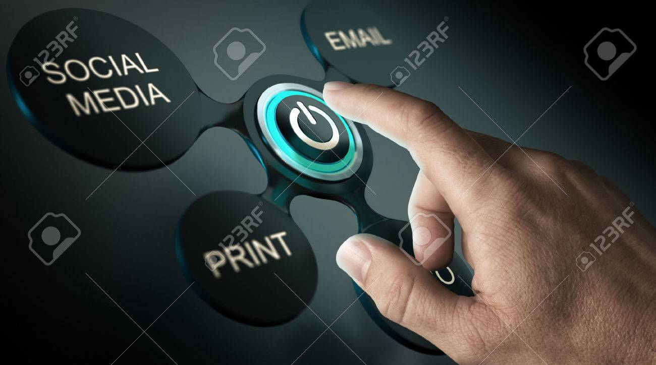 Communication strategy or advertising campaign concept. Finger about to press launch button of a marketing campaign. Composite image over black background. - 55422431