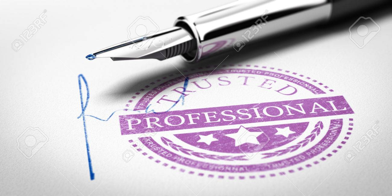 Trusted Professionnal rubber stamp mark imprinted on a paper texture with signature and fountain pen. Concept image for illustration of trustworthy business partner. Stock Illustration - 55422553