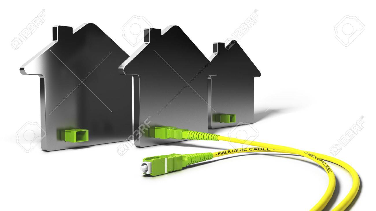 3D illustration of a FTTH network for high broadband access over white background - 56776152