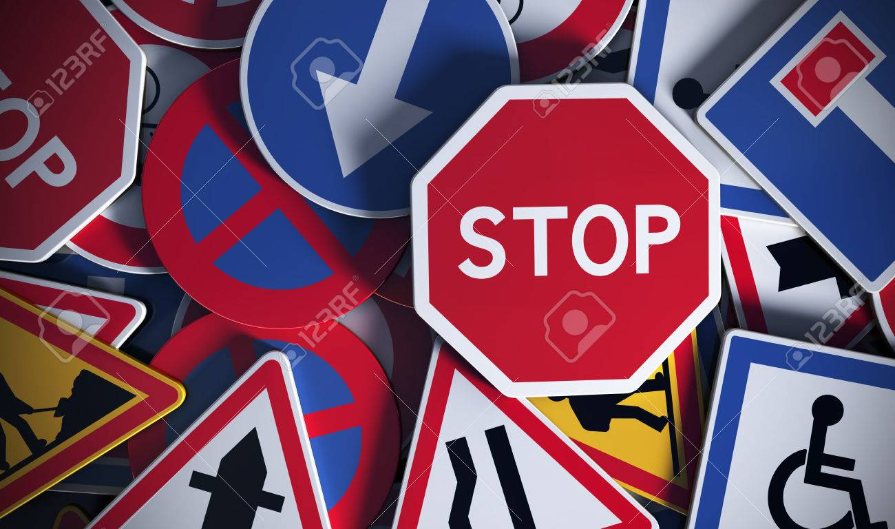 Front view of numerous french traffic road signs. Concept image for background Stock Photo - 60183313